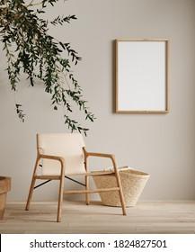 Mock up frame in home interior background, beige room with minimal decor, 3d render