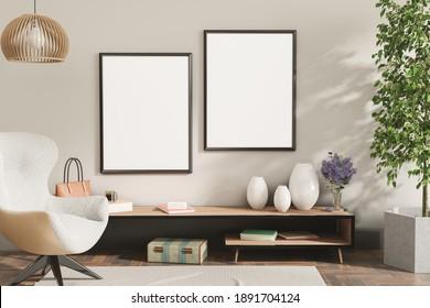 Mock up frame in home interior background, living room with natural furniture, Scandinavian style 3d illustration