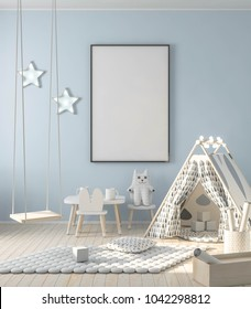 Mock up frame poster on walll in kids room interior. Interior scandinavian style. 3d rendering