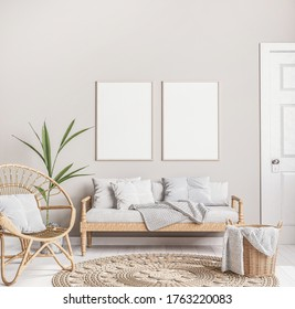 Mock up frame in trendy farmhouse interior with wider furniture, rattan armchair, and green plant on beige background design, 3D render, 3D illustration