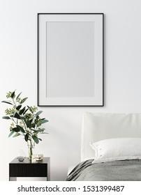 Mock up frame, wall in bedroom interior, Scandinavian style, 3d render