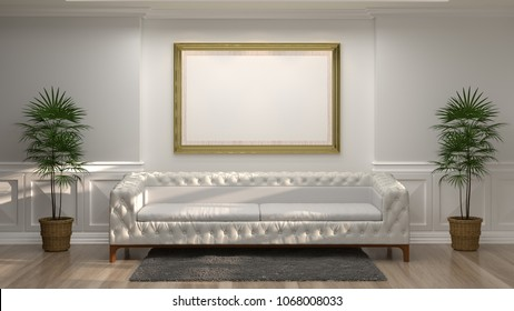 mock up golden photo frame with white sofa in front of empty white wall decorative items minimal style in empty room vintage style,3drendering luxury living room modern mid century room interior home