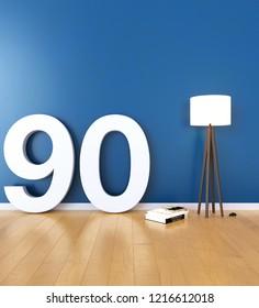 Mock up interior font 3d rendering number 90