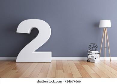 Mock up interior font 3d rendering number 2