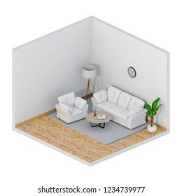 mock up interior living room, 3D render