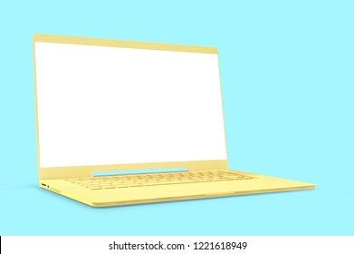 Mock up laptop yellow color with blank screen isolated and clipping path on blue background. concept pastel color, 3d render.