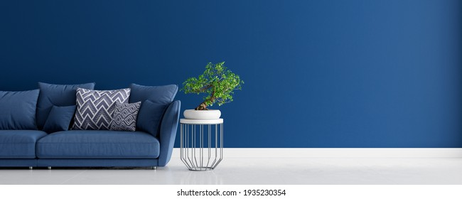 Mock up Living room interior design with blue sofa, empty blue wall with free space on right 3D render 3D illustration