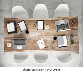 mock up meeting conference table with office accessories and laptop computers, hipster interior background, 3D render