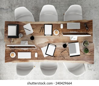 mock up meeting conference table with office accessories and computers, hipster interior background, 3D render