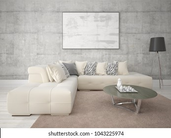 Mock up with modern interior of the living room on the hipster background, 3d rendering.