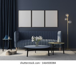 Mock up Modern interior of the living room in monochrome blue with  a stylish velvet sofa, a beige carpet, a golden floor lamp and three posters in golden frames / 3D illustration, 3d render