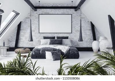 Mock up in modern open-plan apartment in attic, loft style, 3d render