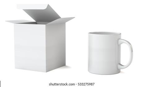 Mock up of mug and square carton box, 3d illustration