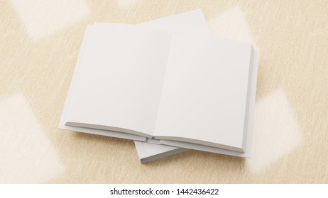 Mock up with an opened empty book with a background. Template for advertisement. 3D rendering.