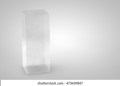 Mock up package box. Transparent tall long product cardboard. Realistic box for your design. Three-dimensional rendering.