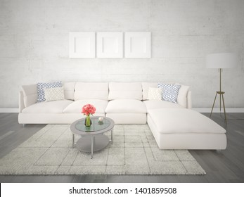 Mock up a perfect living room with a bright comfortable sofa and a trendy hipster backdrop, 3d rendering.