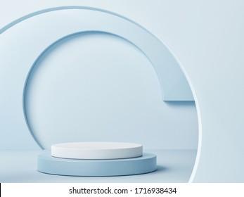 Mock up podium for product presentation, blue background, 3d render, 3d illustration