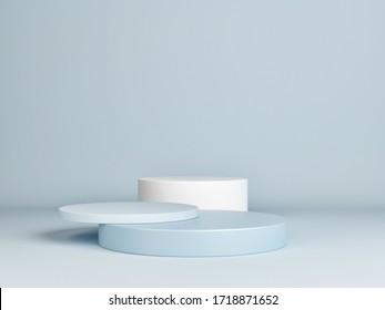 Mock up podium for product presentation, blue background, 3d render, 3d illustration.