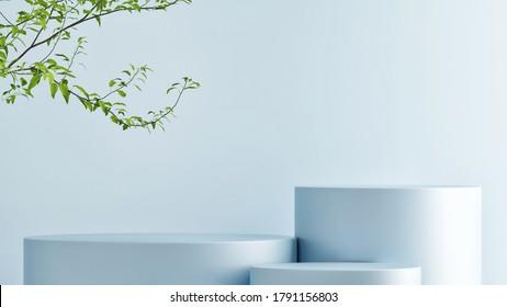 Mock up podium for product presentation, blue pastel background, 3d render, 3d illustration
