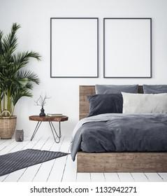 Mock up poster in bedroom interior,ethnic style, 3d render