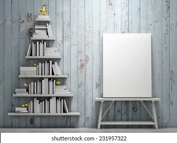 Mock up poster and bookshelf shaped christmas tree