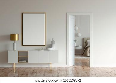 Poster und Schrank mit Lampe und Dekoration in beigem Interieur mit offener Tür zum modernen Schlafzimmer. 3D-Illustration