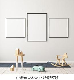Mock up poster in the children's room. Children's room in Scandinavian style. 3d illustration.