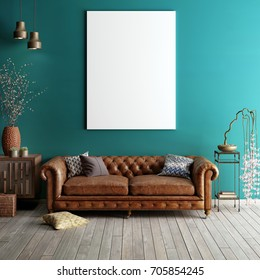 Mock up poster in classic living room. Light green and brown interior with sofa. 3d render.