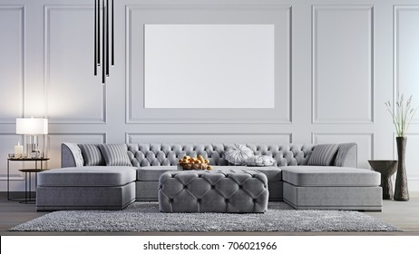 mock up poster in elegant  living room in stylish apartment. 3d rendering. 3d illustration