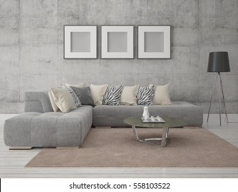 Mock up poster with a fashionable sofa on hipster background, 3d rendering.