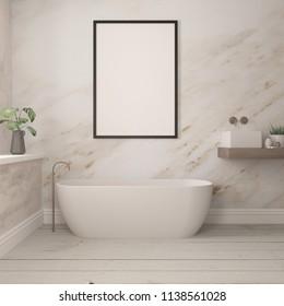 Mock up poster in a frame in bathroom. 3d illustration. 3d render