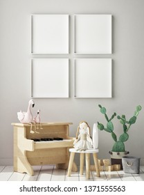 mock up poster frame in children bedroom, Scandinavian style interior background, 3D render, 3D illustration