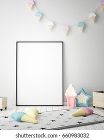 mock up poster frame in children bedroom, scandinavian style interior background, 3D render, 3D illustration