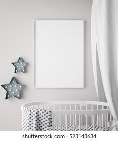 mock up poster frame in children room, scandinavian style interior background, 3D render, 3D illustration