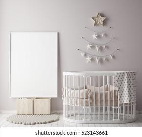 mock up poster frame in children room with christamas decoration, scandinavian style interior background, 3D render, 3D illustration