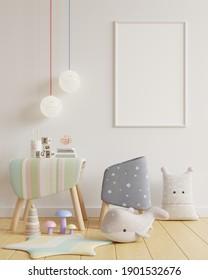 Mock up poster frame in children room,kids room,nursery mockup,White wall,3D rendering