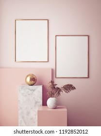 mock up poster frame in geometric interior background, pastel colors, 3D render, 3D illustration