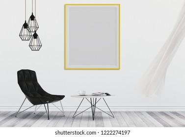 mock up poster frame in hipster interior living room, 3D render