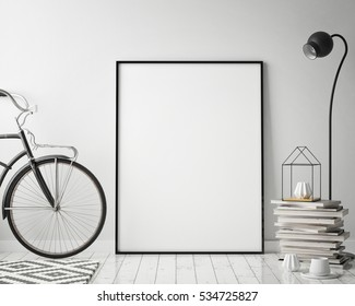 mock up poster frame in hipster interior background with bicycle, scandinavian style, 3D render, 3D illustration