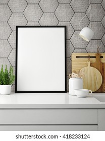 mock up poster frame in hipster kitchen, interior backround, 3D rendering, 3D illustration