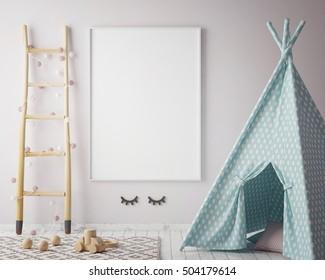 mock up poster frame in hipster room, scandinavian style interior background, 3D render, 3D illustration