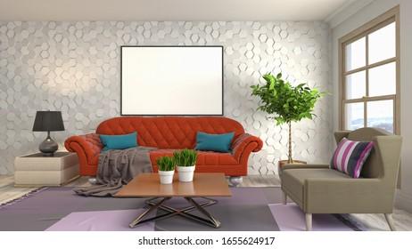 mock up poster frame in interior background. 3D Illustration.