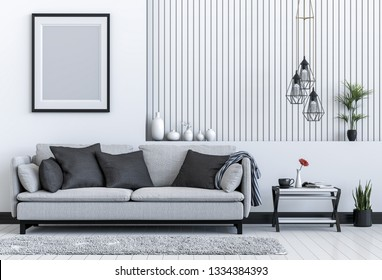 mock up poster frame interior living room background, 3D render