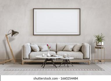 mock up poster frame interior living room background, 3D render