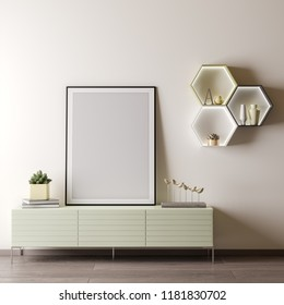 Mock up poster frame in Interior room with white wal, modern style, 3D illustration