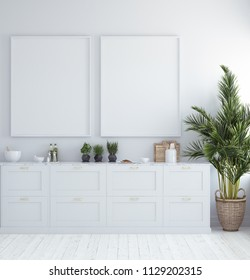 Mock up poster frame in kitchen interior, Scandinavian style, 3d render