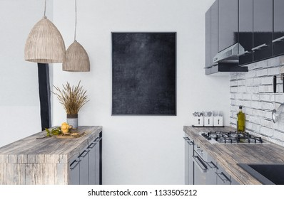 Mock up poster frame in kitchen interior, Scandi-boho style, 3d render