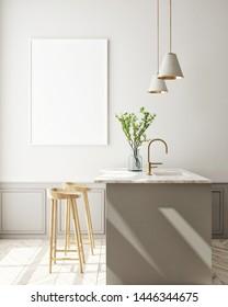 mock up poster frame in kitchen interior background, Scandinavian style, 3D