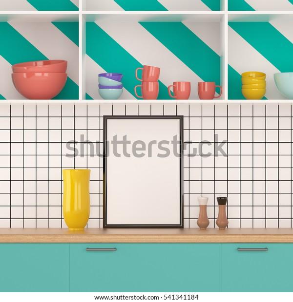 Mock Poster Frame Kitchen Memphis Style Stock Illustration 541341184