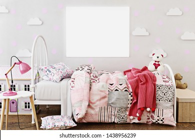 Mock up poster frame in little girl's room with doll house and teddy bear's. 3D rendering, 3D illustration with room for text or copy space.